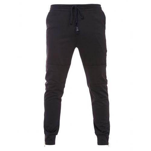 Rosewholesale Fashion bottom zipper design drawstring waistband black jogger pants for men