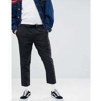 Boohooman pinstripe cropped trousers in black - black