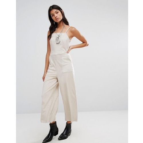 Mango cropped leather look jumpsuit - white