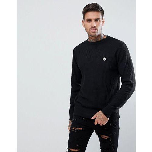 Le breve lightweight weave knitted jumper - black