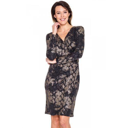 Kopertowa sukienka w beżowo-czarnego węża - Potis & Verso, kopertowa