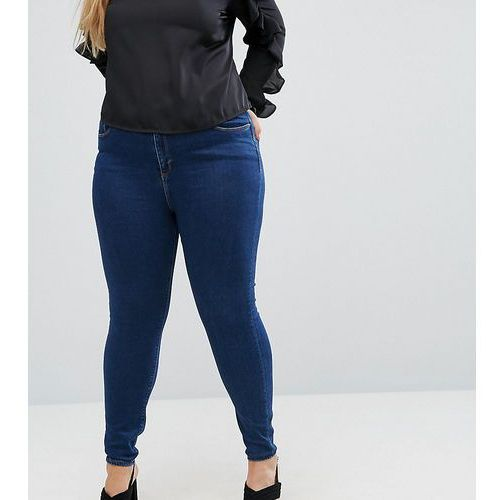ASOS DESIGN Curve Ridley high waist skinny jeans in deep blue wash - Blue, z