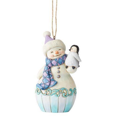 Jim shore Bałwanek i pingwin pingu bajkowa zawieszka snowman with baby penguin (hanging ornament) 6004314 figurka ozdoba świąteczna