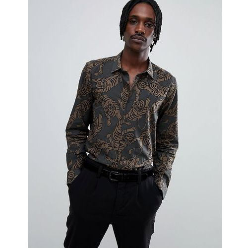 shirt in khaki with tiger print - green, Antony morato, S-M