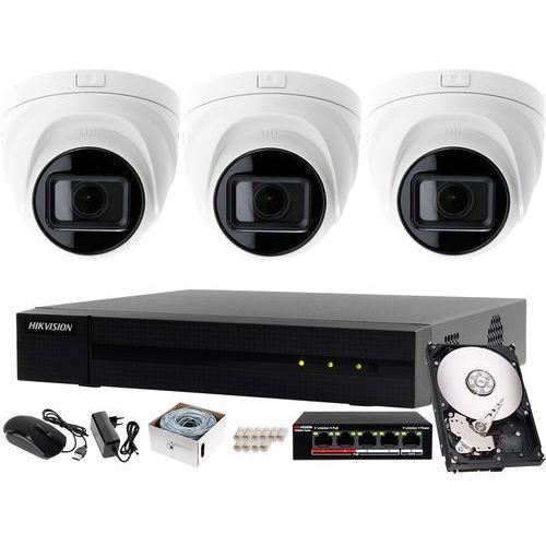 Zestaw do monitoringu placu, obory, podwórka rejestrator ip hwn-4104mh + 3x kamera fullhd hwi-t641h-z + akcesoria marki Hikvision hiwatch