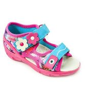 sandałki dziecięce dziewczęce - różowe, wygodne, skórzana wkładka, na rzepy marki Befado