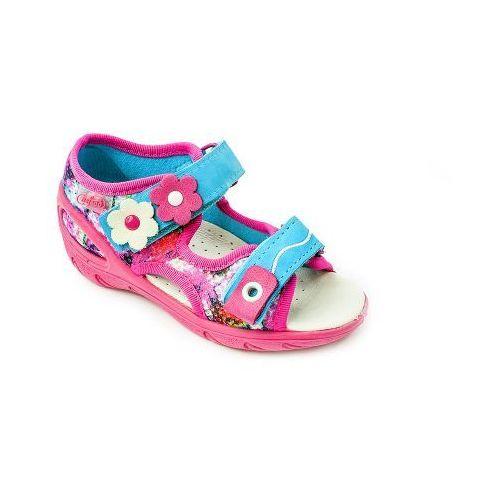 Befado  sandałki dziecięce dziewczęce - różowe, wygodne, skórzana wkładka, na rzepy