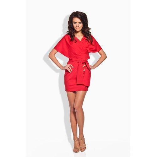 Czerwona szlafrokowa sukienka mini z szerokim kołnierzem marki Lemoniade