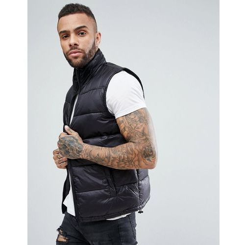 quilted gilet with concealed hood in black - black marki New look