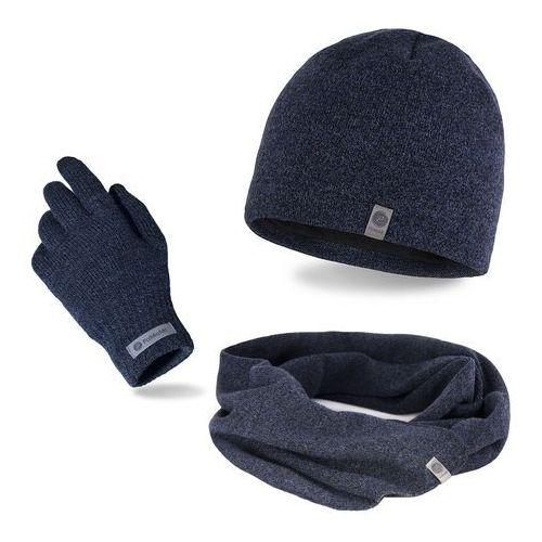 Pamami Komplet męski - czapka, szalik, rękawiczki - granatowa mulina (5902934061315)