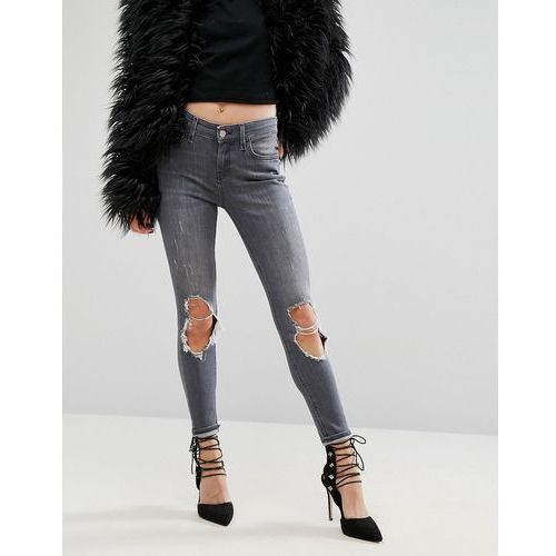 River Island Amelie Super Skinny Jeans With Cut Out Knees - Grey