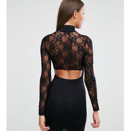 ASOS TALL Lace Long Sleeve Cut Out Back Mini Dress - Black, kolor czarny