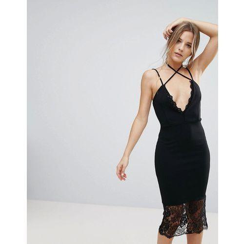 Missguided Black Lace Trim Cross Strap Detail Midi Dress - Black