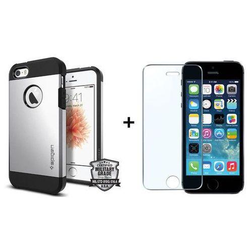 Zestaw | SGP - Spigen Tough Armor Srebrny + Szkło ochronne Perfect Glass | Pancerna obudowa dedykowana dla modelu Apple iPhone 5 / 5S / SE