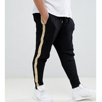 Sixth June PLUS Skinny Joggers In Black With Gold Side Stripe - Black