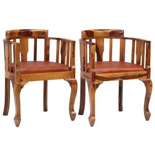 Krzesła do jadalni, 2 szt., prawdziwa skóra i drewno sheesham marki Vidaxl