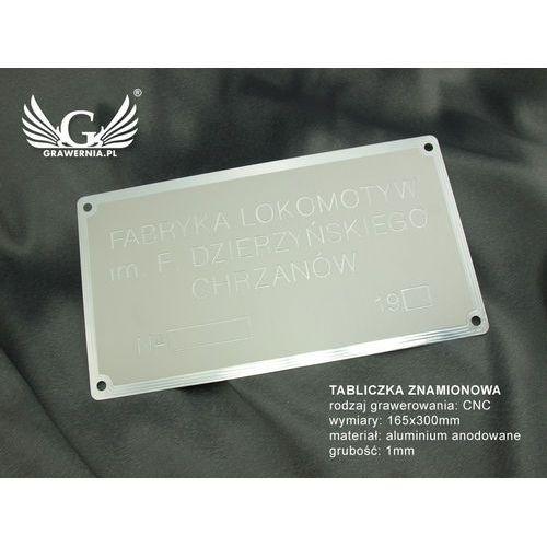 Tabliczka znamionowa z aluminium anodowanego - grawer CNC 001 - wymiar: 165x300mm