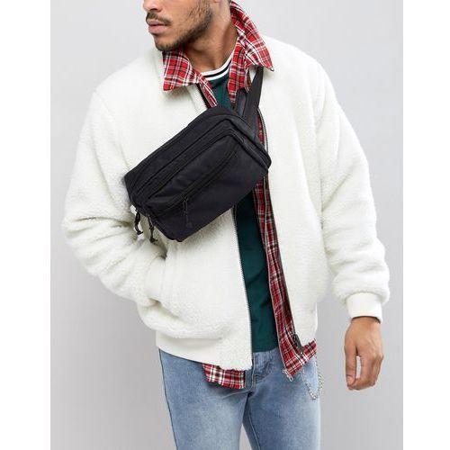 Asos design oversized cross body bum bag in black texture with chunky zip - black