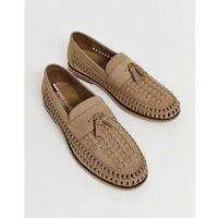 leather woven tassel front loafers - stone, River island