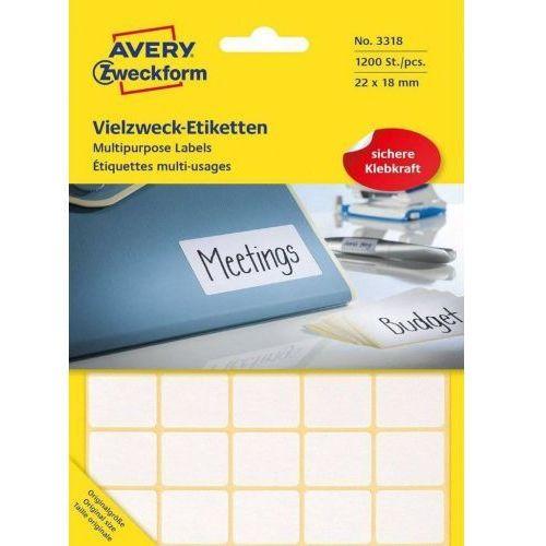 Avery zweckform Mini etykiety w arkuszach do opisywania ręcznego, 22 x 18mm, białe, 1200 sztuk