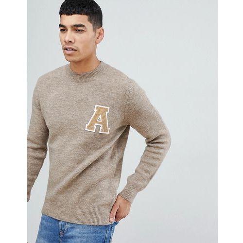 New Look collegiate jumper with crew neck in stone - Stone