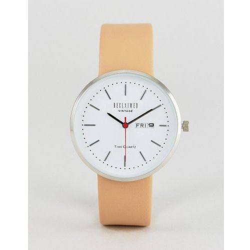 inspired date leather watch in tan exclusive to asos - tan marki Reclaimed vintage