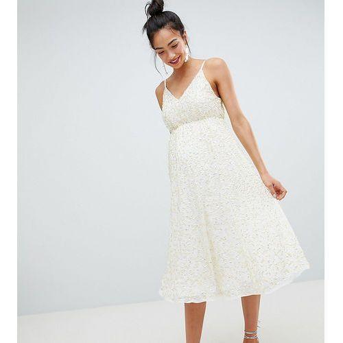Asos design maternity delicate sequin midi plunge dress with full skirt - cream marki Asos maternity
