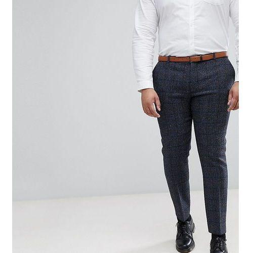 Heart & Dagger PLUS Slim Suit Trouser In Harris Tweed In Check - Navy