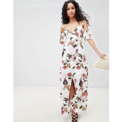 cold shoulder floral maxi dress - white marki Parisian