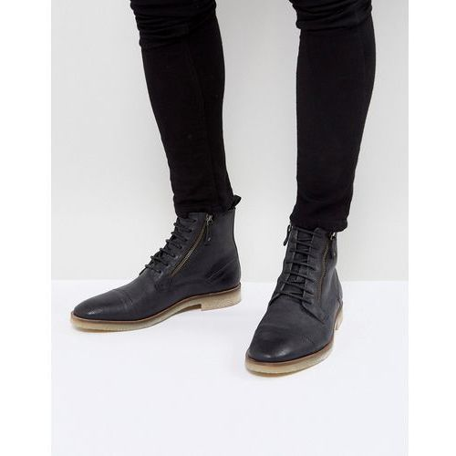 lace up boots in black suede with zip detail and natural sole - black, Asos