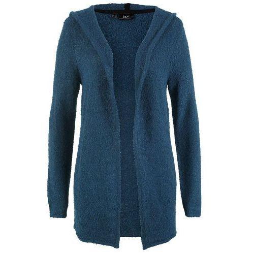 Sweter rozpinany z kapturem ciemny lila marki Bonprix