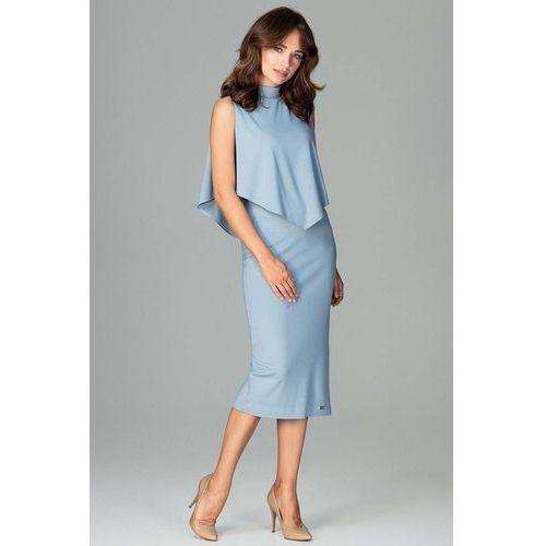 15b04bd08b0752 Niebieska wizytowa dopasowana sukienka midi z peleryną, Katrus, 36-42