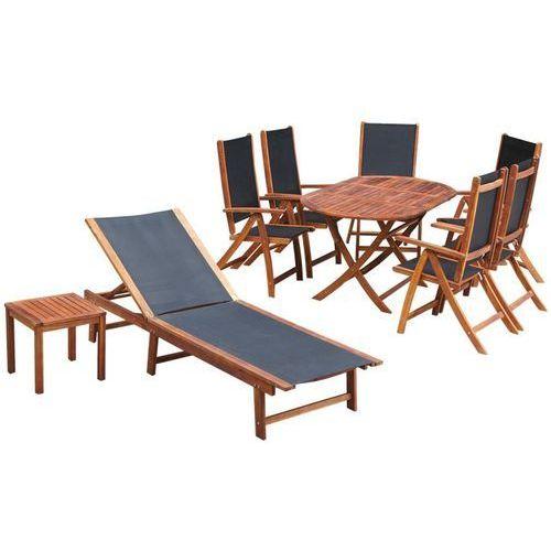 vidaXL Zestaw mebli ogrodowych, 9 części, drewno akacjowe i textilene (8718475502548)