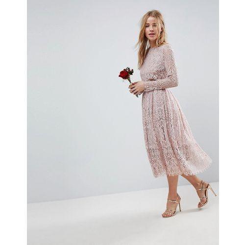 wedding lace long sleeve midi prom dress - beige marki Asos