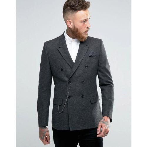ASOS Skinny Double Breasted Blazer in Grey Herringbone with Watch Chain - Grey, towar z kategorii: Pozostałe