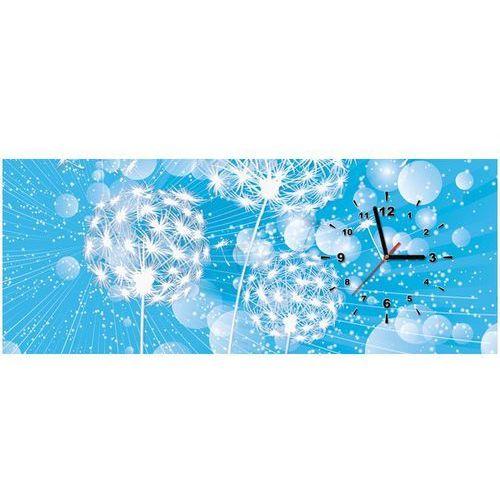 B2b Zegar w obrazie - dmuchawce na abstrakcyjnym błękitnym tle