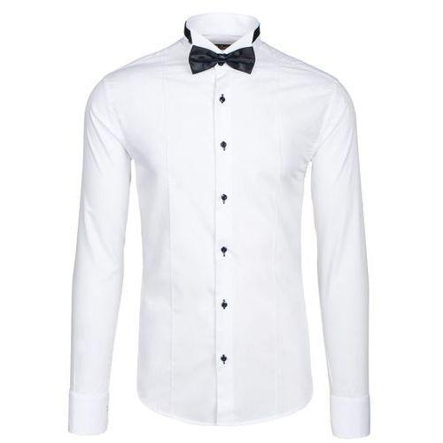 Biała koszula męska elegancka z długim rękawem Bolf 5754 - BIAŁY, kolor biały