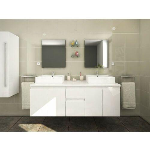 Vente-unique Meble łazienkowe lavita ii podwieszane z podwójną umywalką i lustrami - biały