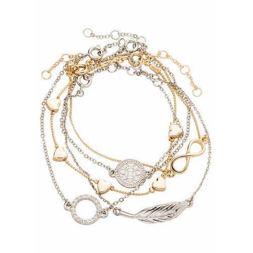 Komplet bransoletek (5 części) srebrny kolor - złoty kolor marki Bonprix