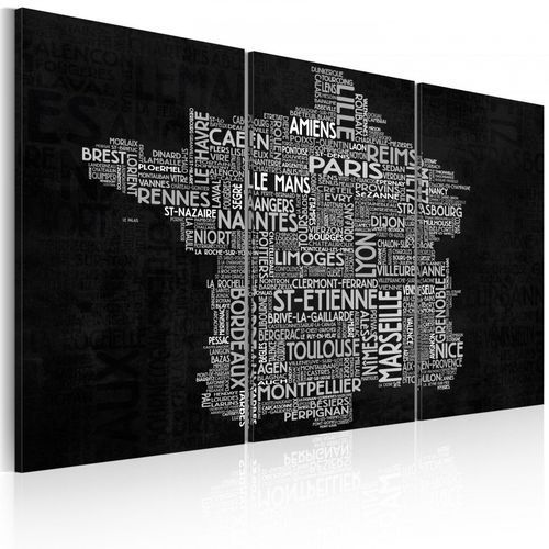 Obraz - text map of france on the black background - triptych marki Artgeist