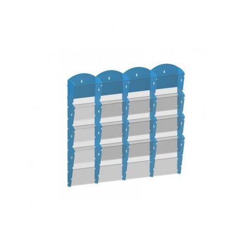 Plastikowy uchwyt ścienny na ulotki - 4x4 a4, niebieski marki B2b partner