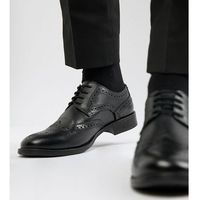 Frank wright wide fit brogues in black leather - black
