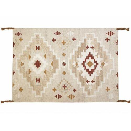 Dywan kilimowy tkany ręcznie z wełny KIAN - 160x230 cm - Jasnobeżowy z pomarańczowymi elementami