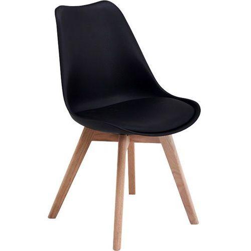 Czarne nowoczesne drewniane krzesło z czarną poduszką - czarny + czarna poduszka marki Regoline