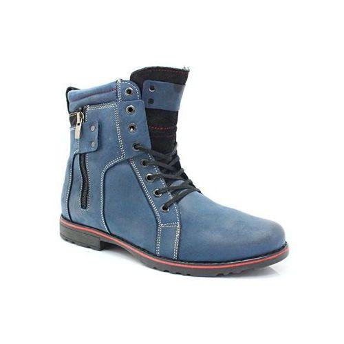 237 granatowe - męskie buty zimowe skóra - granatowy marki Kent