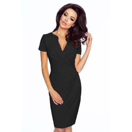 Czarna Sukienka z Kopertowym Dekoltem Bal Wesele, KM56bl