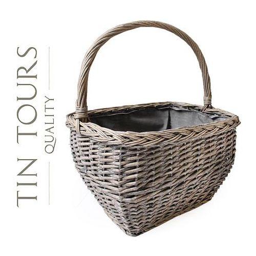 Tin tours sp.z o.o. Duży wiklinowy kosz zakupowy / grzybowy 39x28x26/46h cm