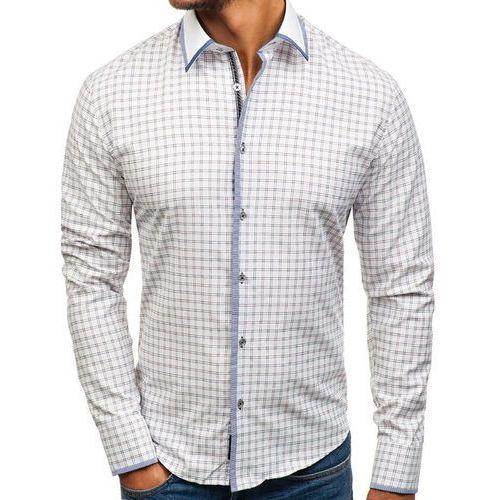 Koszula męska w kratę z długim rękawem biało-bordowa 8812 marki Bolf
