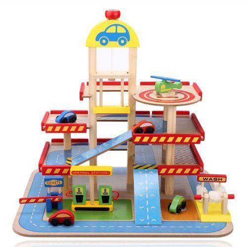 Drewniany parking- tor-garaż z windą + autka marki Wooden toys
