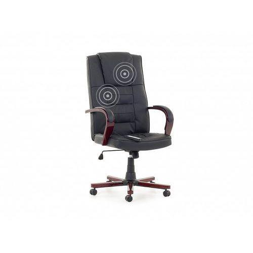 Skórzane krzesło fotel biurowy z masażem k.czarny diamond marki Beliani